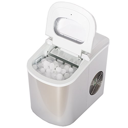 SMETA Portable Compact Ice Maker Machine Counter Top Produce 26lb/day,Silver