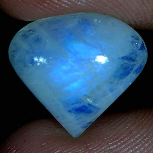 dadu_creation 9.50CTs.100% Natural Blue Flashing Rainbow Moonstone Heart CABOCHON Gemstone