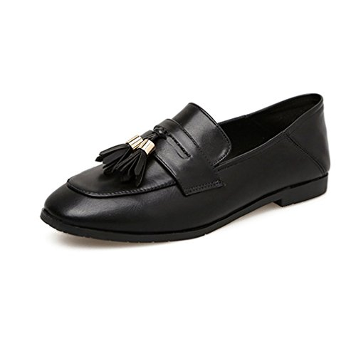 GIY Womens Classic Penny Loafers Tassel Flat Moccasin Square Toe Slip-On Casual Dress Loafer Oxford Shoe Black