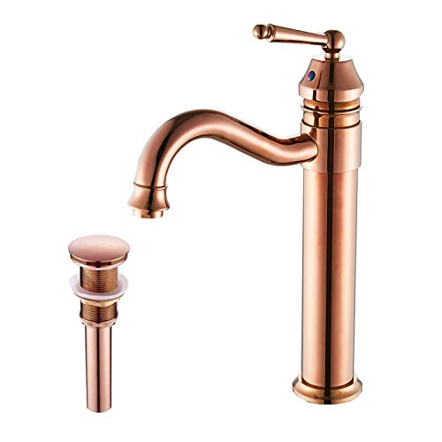 GGStudy Tall Body Single Handle One Hole Bathroom Vessel Sink Faucets Copper Finish With Pop Up Drian Without Overflow