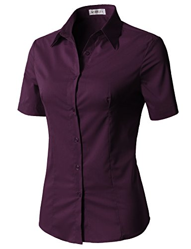 (CLOVERY Women's Tailored Short Sleeve Slim Fit Button Down Shirt Plum XS)