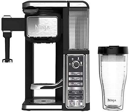 Ninja CF112 Coffee Bar Single-Serve System w/Auto-iQ One-Touch Intelligence Technology, 12.2 x 11 x 16.3 Black/Silver (Renewed)
