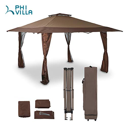 PHIVILLA 13' x 13' Enlarge Outdoor Patio Pop-up Canopy Gazebo with Elegant Corner Curtain for Backyard, Party, Family Outings, 169 Sq. Ft of Shade, Brown