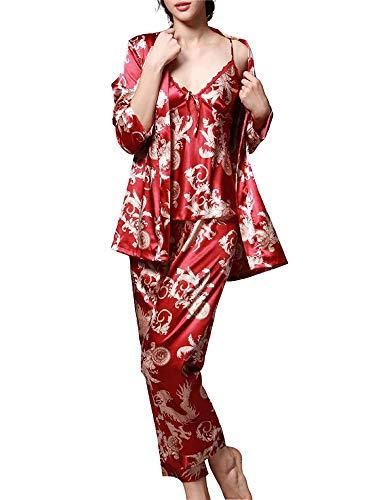 - Romanstii Silk Satin Pajamas Sleepwear Set Paisley Pajama PJ Set Luxurious 3pcs