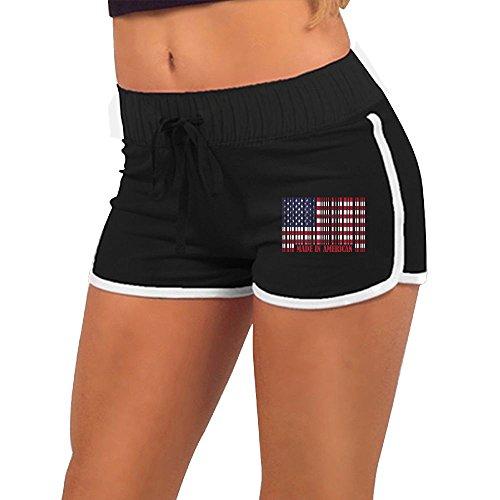 Womens Sexy Booty Shorts American Barcode Flag Torso Silhouette Dance Yoga Festivals Hot ()