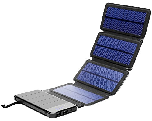 - Solar Phone Charger 10.000mAh Power Bank - Portable Smartphone & iPhone Battery + Emergency Flashlight – (2) USB Ports + (4) Foldable Solar Panels - Fast Charging Smart IC Technology - Camping, Hiking