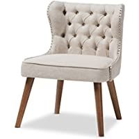 Baxton Studio Sydney Walnut Wood Button-Tufting With Nailheads Trim 1-Seater Accent Chair, Regular, Light Beige