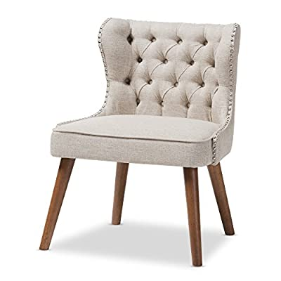 Baxton Studio Sydney Walnut Wood Button-Tufting with Nailheads Trim 1-Seater Accent Chair, Regular, Light Beige - Mid-century 1-seater lounge chair Fabric upholstered Silver nail heads trim around the edges of the backrest - living-room-furniture, living-room, accent-chairs - 41vjy5KecfL. SS400  -