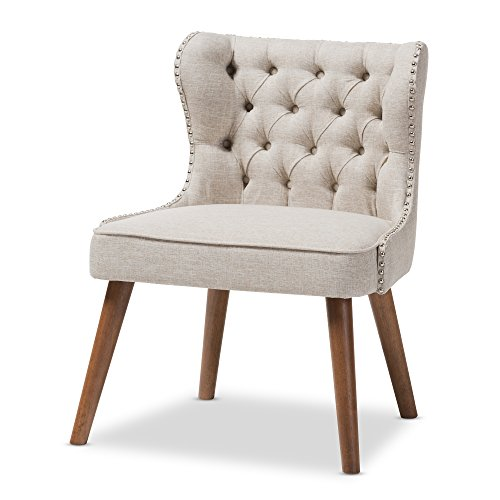 Baxton Studio Sydney Walnut Wood Button-Tufting with Nailheads Trim 1-Seater Accent Chair, Regular, Light ()