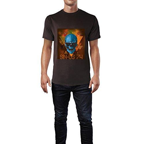 SINUS ART® Totenkopf Cosmic Hipsta Rules Herren T-Shirts in Schokolade braun Fun Shirt mit tollen Aufdruck