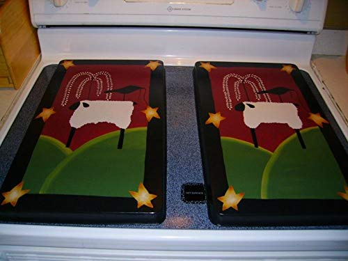 (Primitive Country Sheep Crow Stars Willow Tree Stove Burner Cover Set)