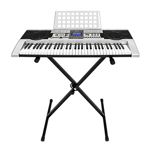 Marketworldcup Electronic Piano Keyboard 61 Key Music Key Board Piano With X Stand Heavy Duty