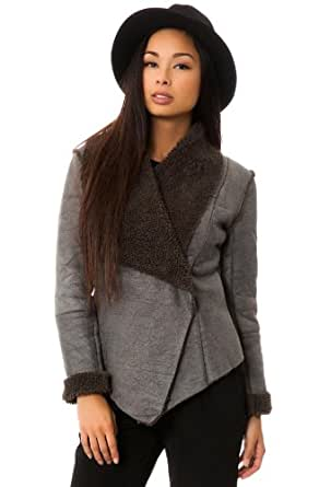 BB Dakota Women's Gillian Faux Fur and Suede Jacket Extra Small Charcoal