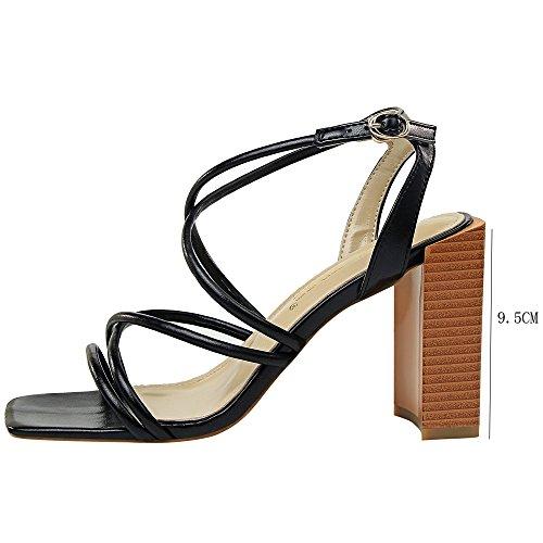 Open Moda Estate Female Crossed Sandali Trendy Heel Sandali Black Square Toe pXxqq4FPw