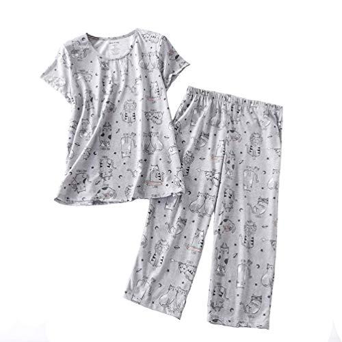 ENJOYNIGHT Women's Sleepwear Tops with Capri Pants Pajama Sets (XXX-Large, Cat) ()