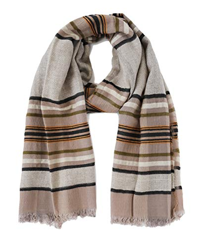 Lucky Brand Unisex Men's Women's Striped Wool Blend Scarf (Natural Striped) ()