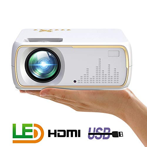 MeterMall A20 Mini Projector HD 1080P TV Projector Home Cinema Projector Basic White US Plug ()