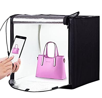 Foto&Tech 24''x24''x24'' Portable LED Photo lighting Studio Shooting Tent Kit, All In One LED Lighting Cube/Table Top LED Light Kit with White/Black/Yellow Backdrops, Diffusing Cloth, Carrying bag