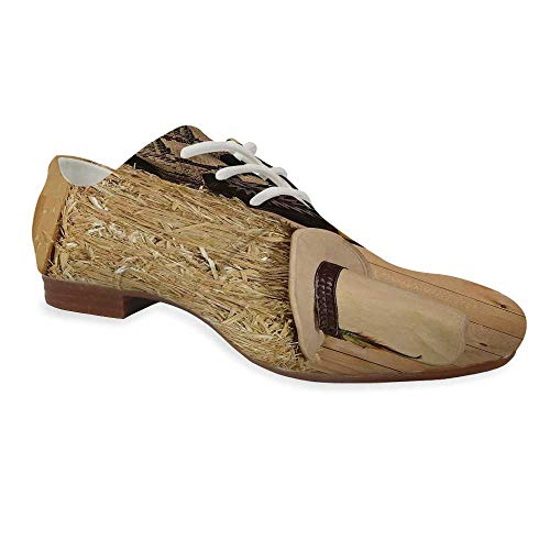 Western Decor Durable Leather Shoes,Snake Skin Cowboy Boots Timber Planks in Barn with Hay Old West Austin Texas for Women,US 10 (Best Cowboy Boots In Austin Texas)