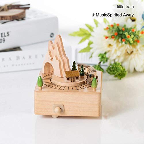 AOJIAOGUI Children Toy Wood Crafts Vintage Retro Birthday Gift Home Decor Accessories Carousel Musical Boxes New Year…
