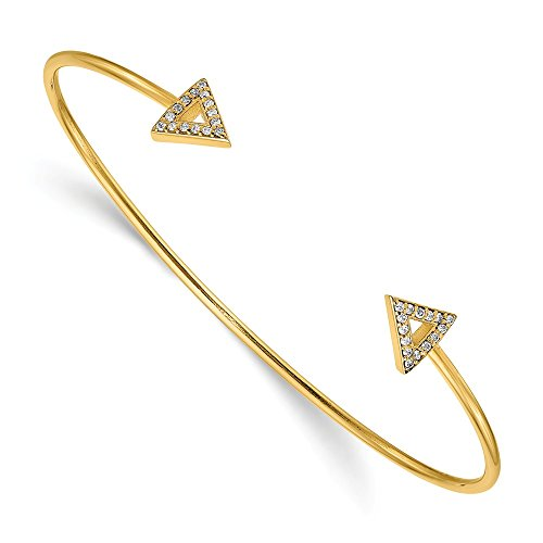 (14K Yellow Gold 7in A Diamond Triangle Bangle 1 mm 7 in 8 mm 7 in Cuff Bracelets Jewelry)