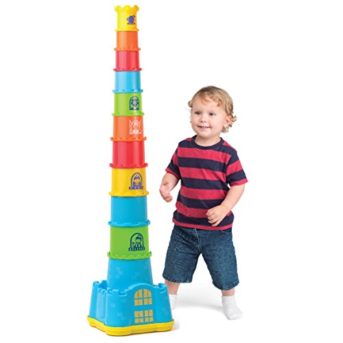 SainSmart Jr.. HAP-P-KID Stacking Cups with Castle Stacker for Toddler, Stacking and Sorting Nesting Toys Game for Kids from 12 Months (18 PCS)