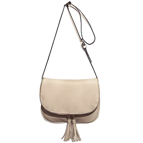 Bag Donalworld Bag Flap Shoulder Women Crossbody Tassel Zipper Beige Stylish wnawB8qvU