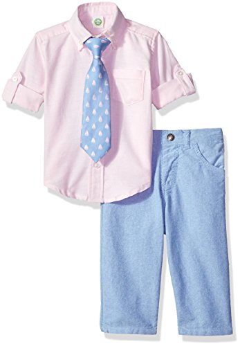 Little Me Baby Boys' Woven Pant Shirt and Tie Set, Pink Oxford, 12 Months