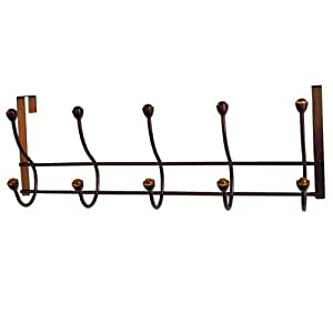 Elegant Home Fashions Five-Hook Over the Door - Amber Acrylic Ball/Oil Rubbed Bronze