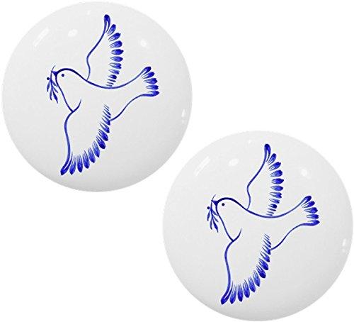 Set of 2 Folk Art Dove Ceramic Cabinet Drawer Knobs