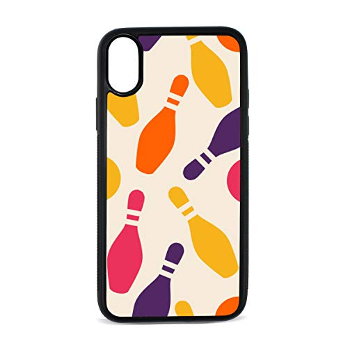 iPhone Bowling Sport Design Mix and Match Style Retro White Ball Digital Print TPU Pc Pearl Plate Cover Phone Hard Case Accessories Compatible with Protective Apple Iphonex/xs Case 5.8 Inch