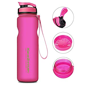Sports Water Bottle , DRILLPRO 35oz/1L Drinking Bottle - BPA Free - Flip Top Leak Proof - One Click Open for Outdoor & Gym Sport