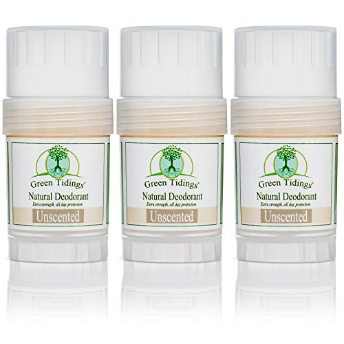 Green Tidings Natural Deodorant - Unscented 1oz 3 PACK- 15% OFF -*Extra Strength, All Day Protection* (Vegan, Cruelty Free, Aluminum Free, Paraben Free, Non Toxic, Solid Lotion Bar ()
