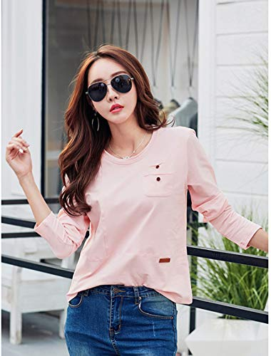 Collo Sottile Blouse Lunga Manica Maglie Maglietta e Felpe a Moda Rosa Shirts Primavera Jumper Casual Primavera T Rotondo Tops Donne Autunno e Autunno xxq4Y6