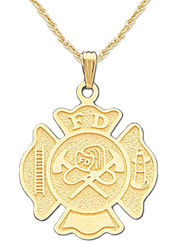 US Jewels And Gems 14k Yellow Gold Fire Department Badge Charm Pendant 1.6mm Rope Chain Necklace