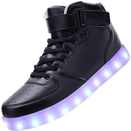 (Present:small towel)JUNGLEST® Women Men High Top USB Charging LED Sport Shoes Fl Black nE8kfldGcA