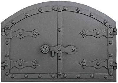 Puerta Del Horno para pizza Horno Puerta Madera del Horno Puerta Horno de piedra para puerta de hierro fundido, medidas exteriores: 525x 355mm, öffnungsrichtung: zweiflügelig