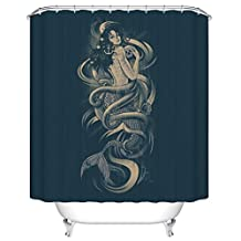 Mermaid Skull Octopus Anchor Kraken Design Polyester Fabric Shower Curtains 66 Inch by 72 Inch, Brown