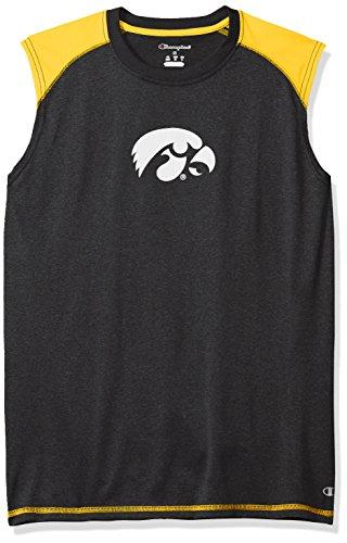 NCAA Iowa Hawkeyes Men's Heather Jersey Colorblocked Muscle T-Shirt, Large, Black Heather