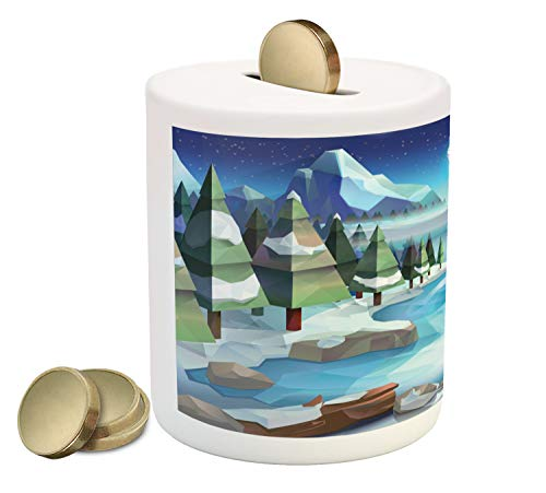 Ambesonne Northwoods Piggy Bank, Fantastic Winterland Illustration with Low Poly Style River Mountains and Forest, Printed Ceramic Coin Bank Money Box for Cash Saving, Multicolor -