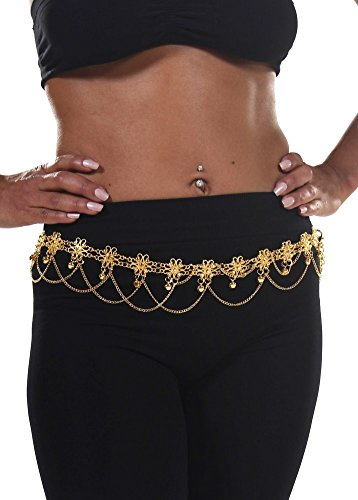[Belly Dance Star Belt with Chains | Flower Bells - Gold] (Fusion Belly Dance Costumes)
