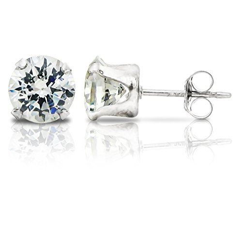 Sterling Silver 6mm Round Clear Cubic Zirconia Stud Earrings 1.5tcw
