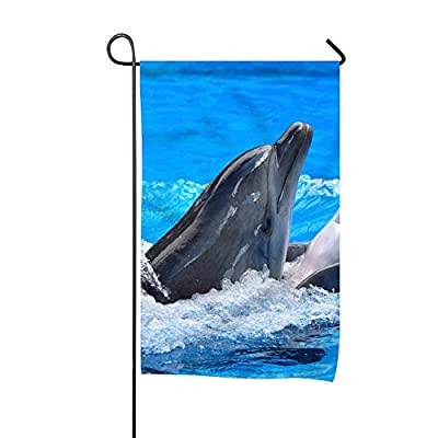 Starfactr Garden Flag Set for Outdoors - 12-inch x 18-inch Flags Fade Resistant - Double Sided-Animal Dolphin
