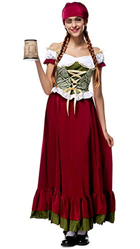 Size Womens Bavarian Plus Girl Costumes (Womens Oktoberfest Costume Bar Maid Bavarian ethnic traditional costumes Long Dresss)