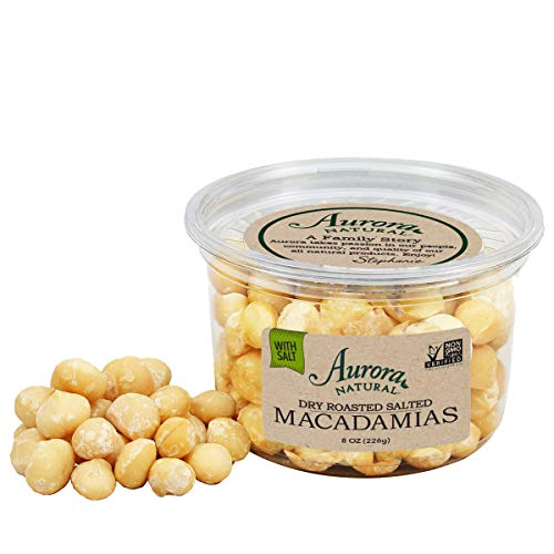 Aurora Natural Products Dry Roasted Salted Macadamias, 8 Ounce