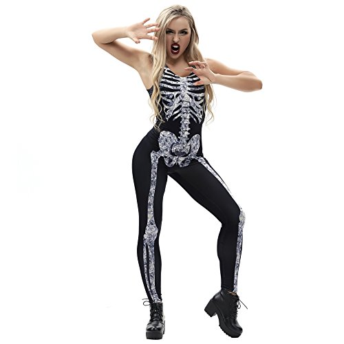JJEUWE Women's Skeleton Jumpsuit Halloween Costume Outfit Sleeveless
