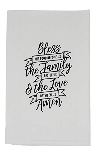 Funny Dishcloth Tea Towel Screen Printed Flour Sack Cotton Kitchen Table Linens Bless The Food Before Us The Family Beside Us and The Love Between Us Amen