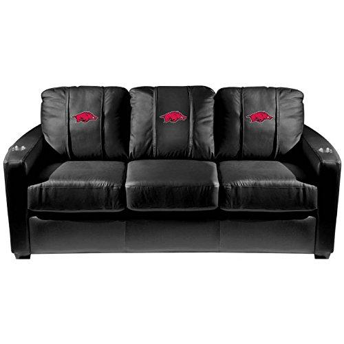 XZipit College Silver Sofa with Arkansas Razorbacks Logo Panel, Black