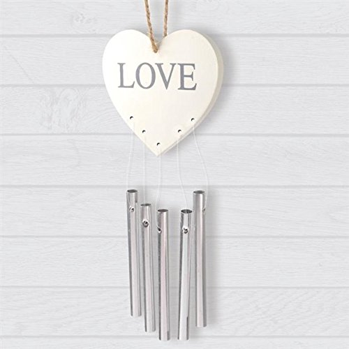 The Home Fusion Company Beautiful Love Heart Hanging Plaque Chimes Indoor Decoration Wind Chimes