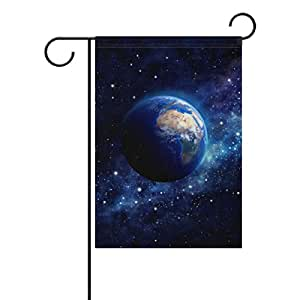 U LIFE Earth Planet Stars Space Universe Nebula Garden Yard Flag Banner for Outside House Flower Pot Double Side Print 12 x 18 Inch